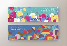 Memphis art colorful background banner design vector. Template Royalty Free Stock Photo