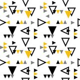 MEMPHIS ART DESIGN. ROTATE TRIANGLE IN SQUARE GRID. SEAMLESS GEOMETRIC PATTERN VECTOR. GRUNGE DESIGN. GEOMETRIC SEAMLESS VECTOR PATTERN. ROTATE TRINALGE Royalty Free Stock Photos