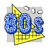 Memphis background 80s. Memphis composition with the inscription 80s and geometric shapes, a triangle with a cell, ovals with a black shadow on the background of stock illustration