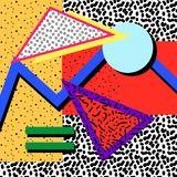 Memphis background 80s. Memphis background of geometric shapes, with circles triangles, with different backgrounds, fills in the style of the 80s vector illustration