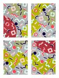 Memphis background set, geometry, shadow, dots. Memphis background set, from geometry, with different colors and white shadow, against a backdrop of black dots stock illustration