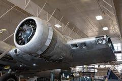 Memphis Belle Left Radial Engine & partisk vinge arkivfoton