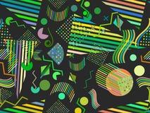 Memphis bezszwowy wzór Abstrakcjonistyczny bezszwowy wzorów 80 ` s-90 ` s projektuje wektor royalty ilustracja