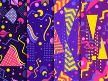Memphis bezszwowy wzór Geometryczni elementy Memphis w stylu 80 s ` tło puszka dobrzy pakunki target2198_1_ wektor royalty ilustracja