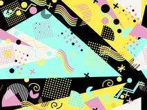 Memphis bezszwowy wzór Geometryczni elementy Memphis w stylu 80 s ` wektor royalty ilustracja