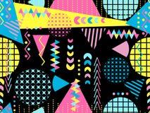 Memphis bezszwowy wzór Geometryczni elementy Memphis w stylu 80 s ` wektor ilustracja wektor