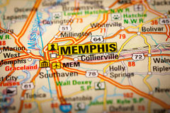 Memphis City on a Road Map Royalty Free Stock Photography