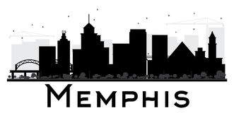 Memphis City skyline black and white silhouette. Vector illustration. Simple flat concept for tourism presentation, banner, placard or web site. Business Stock Images