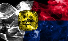 Memphis city smoke flag, Tennessee State, United States Of Ameri. Ca Royalty Free Stock Photos