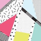 Memphis color blocks and dash elements backdrop design. royalty free illustration