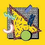Memphis composition 80s. Memphis composition, background, of geometric shapes on a background of a textural square with a yellow background in the style of the vector illustration