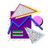 Memphis composition 80s. Memphis composition isolated elements from geometric figures, different colors, with different fillings, in the style of the 80`s stock illustration