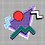 Memphis composition 80s. Of geometric shapes, on a background of cells stock illustration