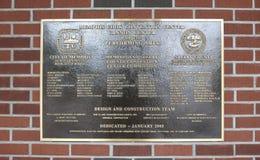 Memphis Cook Convention Center Plaque Imágenes de archivo libres de regalías