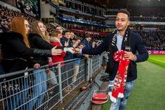 Memphis Depay av Manchester United säger farväl till PSV Arkivbild