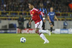 Memphis Depay Champion League FC Bruges - Manchester United Fotografia Stock