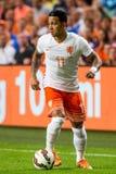 Memphis Depay i det holländska fotbolllaget Royaltyfria Bilder