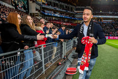 Memphis Depay of Manchester United says goodbye to PSV. NETHERLANDS, EINDHOVEN - January 24th 2016: at the Philips Stadium during the Eredivisie football match Stock Photography