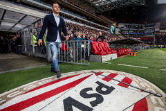 Memphis Depay of Manchester United says goodbye to PSV. NETHERLANDS, EINDHOVEN - January 24th 2016: at the Philips Stadium during the Eredivisie football match Royalty Free Stock Photos
