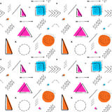 Memphis design 80`s geometric style seamless pattern. Hand drawn. Set. Colorful pattern with different shapes objects. Design for wrapping paper, fabric royalty free illustration