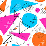 Memphis design 80`s geometric style seamless pattern. Hand drawn set. Colorful pattern with different shapes objects Royalty Free Illustration