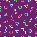 Memphis design. 90s style. Retro geometric seamless pattern. Vector illustration on purple background Vector Illustration