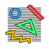 Memphis elements 80s. Memphis elements are decorative, with a colored shadow, a stroke on the background of black lines, from geometric figures, a circle, ovals stock illustration