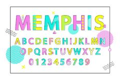 Memphis English Alphabet Vector Illustration. Memphis English alphabet bright colorful poster with letters and digits in square frame. Vector illustration on Stock Images