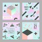 Memphis för uppsättning för inbjudanlyckönskankort stil Abstrakta mallar för affischbanerreklamblad med geometriska beståndsdelar Royaltyfri Foto