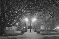 Memphis Foot Bridge Locked Gate in Black and White Stock Photos