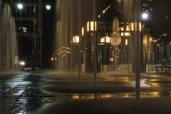 Memphis Fountains på natten Arkivbilder