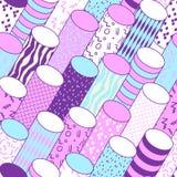 Memphis Geometric Seamless Pattern d'annata con i cilindri L'estratto modella il fondo composizione in stile di 80s 90s Fotografie Stock Libere da Diritti