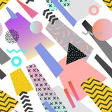 Memphis Geometric Seamless Pattern d'annata L'estratto modella il fondo composizione in stile di 80s 90s per il tessuto Immagini Stock Libere da Diritti
