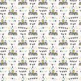 Memphis Geometric Shape Pattern, Naadloze Vectorachtergrond, Hand Getrokken Driehoekenillustratie voor Retro Manier stock illustratie