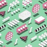 Memphis Geometric Shapes Seamless Pattern Fundo na moda com 3d ilustração royalty free