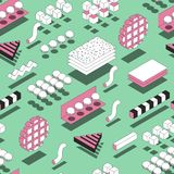 Memphis Geometric Shapes Seamless Pattern Fundo na moda com 3d Fotografia de Stock