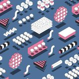 Memphis Geometric Shapes Seamless Pattern Modischer Hintergrund mit 3d Stockbild