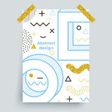 Memphis gold,  poster. With glitter elements, trendy design Stock Photos
