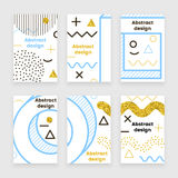 Memphis gold,  poster set. With glitter elements, trendy design Stock Image
