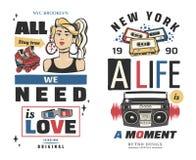 Memphis grępluje retro ilustracje sztandary w 90s stylu grafika zdjęcie royalty free