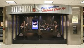 Memphis Home of the Blues. A display in the Memphis International Airport reads Memphis Home of the Blues, Birthplace of Rock and Roll stock photo