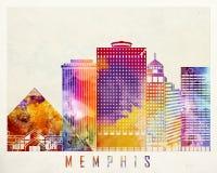 Memphis landmarks watercolor poster Royalty Free Stock Images