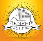 Memphis Linear City Skyline mínimo con diseño tipográfico libre illustration