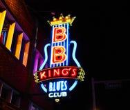 Memphis neon sign. Bb king blues club, urban lights, rock club, blues club Stock Photos