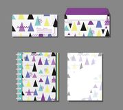 Memphis notebooks and envelopes mock up. Vector illustration graphic design Royalty Free Stock Photo