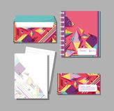 Memphis notebooks and envelopes mock up. Vector illustration graphic design Royalty Free Stock Image