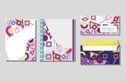 Memphis notebooks and envelopes mock up. Vector illustration graphic design Stock Photo