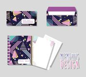 Memphis notebooks and envelopes mock up. Vector illustration graphic design Stock Photography