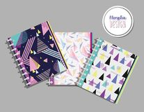 Memphis notebooks mock up. Memphis colorful notebooks mock up vector illustration graphic design Royalty Free Stock Photo