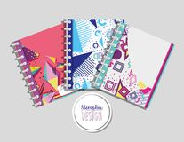 Memphis notebooks mock up. Memphis colorful notebooks mock up vector illustration graphic design royalty free illustration